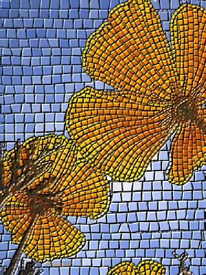 "Giclee print, faux mosaic ""California Poppy"", gold yellow and blue,  art prints by Kinnally"