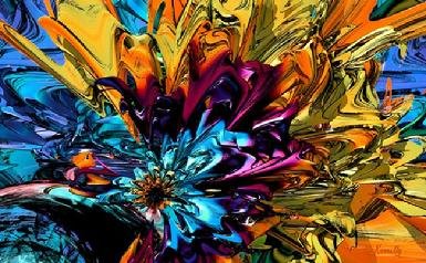 "Giclee print, colorful modern abstract art, ""A Little Splash of Color"" artwork by Kinnally"