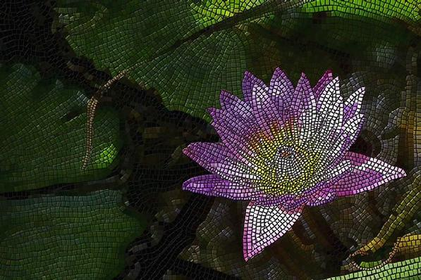 "Giclee print, a mosaic artwork ""Water Lily"" by Kinnally"