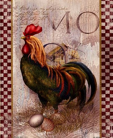 Green Pastures Rooster by artist Alma Lee. Art prints, posters, animal art; rooster art. Roosters, art prints; posters; from an original  painting