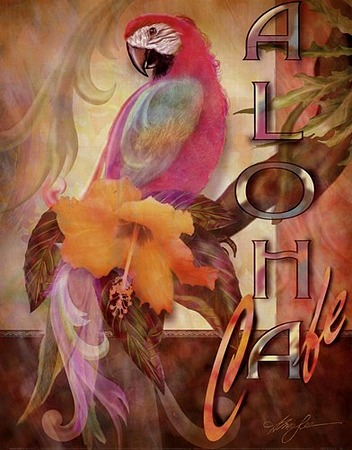 Aloha Cafe by artist Alma Lee. Art prints, posters, animal art; decor art; macaw, parrot, art prints; posters; from an original  painting