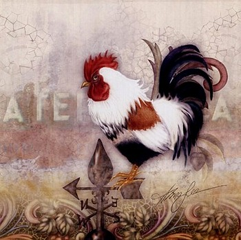 Paisley Rooster by artist Alma Lee. Art prints, posters, animal art; rooster art. Roosters, art prints; posters; from an original  painting