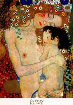 Art print �The Three Ages Of Women, detail� by Gustav Klimt; nude woman with child