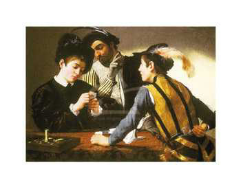 Art print �Cardsharps� by Michelangelo Caravaggio; three men playing cards