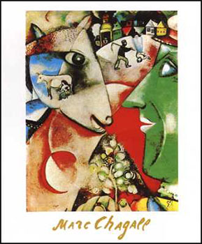 Art print �I and the Village� by Marc Chagall; modern art of a village scene