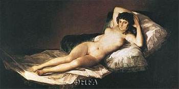 Art print �Nude Maja� by Francisco De Goya; a reclining nude woman