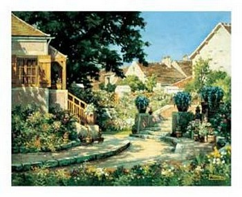 Art print �Sunlit Garden� by Eugene Delacroix; garden and houses