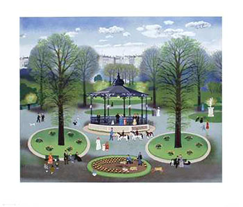 Art print �Le Kiosque� by Michel Delacroix; a city park