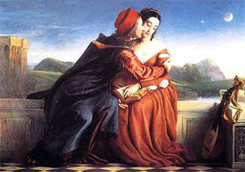 Art print �Paolo Und Francesca� by William Dyce; portrait of two lovers