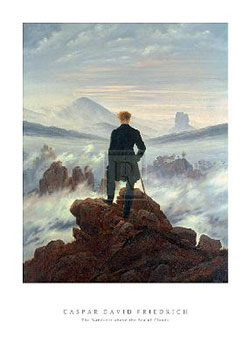 Art print �Wanderer Above the Sea of Clouds� by Caspar David Friedrich; man on a mountaintop