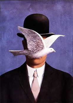 Art print �Man with the Bowler Hat� by Rene Magritte; a man and a dove