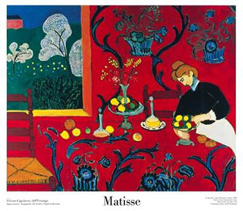 Art print �Harmonie Rouge-Ovsz� by Henri Matisse; a maid preparing a table