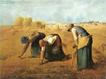 Art print �Gleaners 1857� by Jean Fran�ois Millet; three women gleaning a field