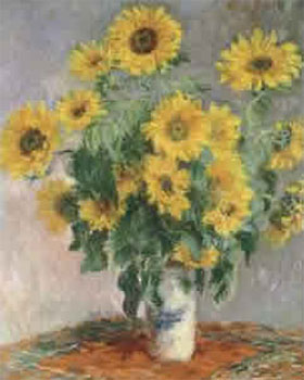 Art print �Sunflowers� by Claude Monet; sunflowers in a vase