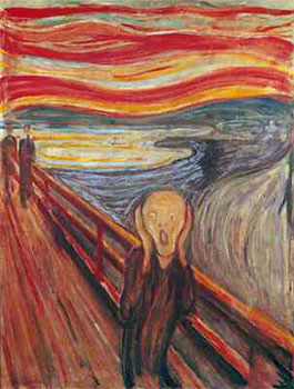 Art print �The Scream� by Edvard Munch; a screaming man