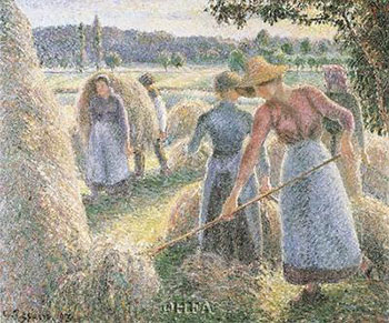 Art print �Haymakers, Evening, Eragny� by Camille Jacob Pissarro; women stacking hay
