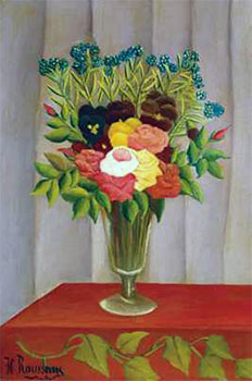 Art print �Flowers Lavender� by Henri Rousseau; bouquet of flowers in a vase