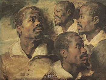 Art print �Four Negro Heads� by Peter Paul Rubens; portrait of four black men