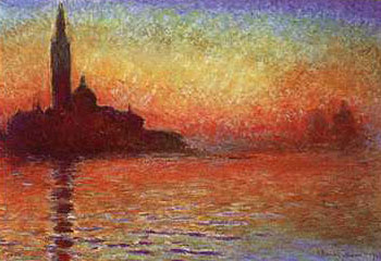 Art print �San Giorgio Maggiore by Twilight� by Claude Monet; a sunset