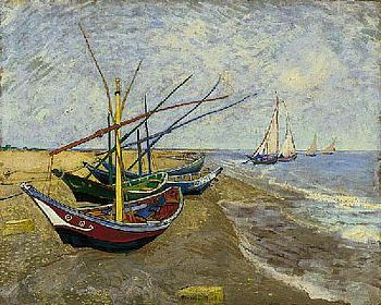 Art print �Fishing Boats on the Beach at Saintes-Maries� by Vincent Van Gogh