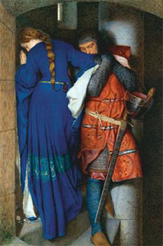 Art print �The Meeting on the Turret Stairs� by Sir Frederic William Burton; romantic painting of two medieval lovers