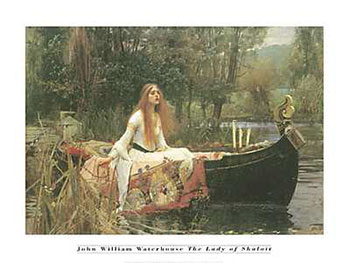 Art print �Lady of Shalott� by John William Waterhouse; romantic painting of a woman in a boat