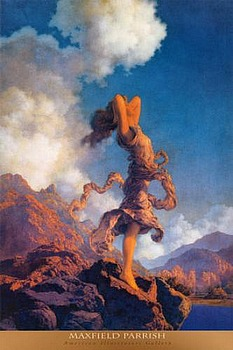 Art print Ecstasy by Maxfield Parrish; a woman standing the edge of a cliff