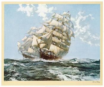 Ariel and Taeping by artist Montague Dawson. Poster prints, art prints, posters, marine art; from an original oil painting