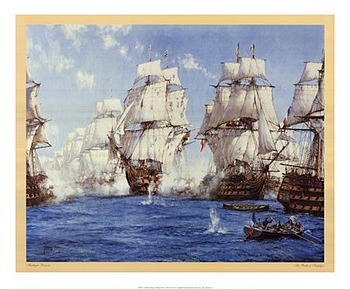 Battle of Trafalgar by artist Montague Dawson. Poster prints, art prints, posters, marine art; from an original oil painting