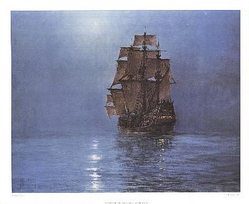 Crescent Moon by artist Montague Dawson. Poster prints, art prints, posters, marine art; from an original oil painting