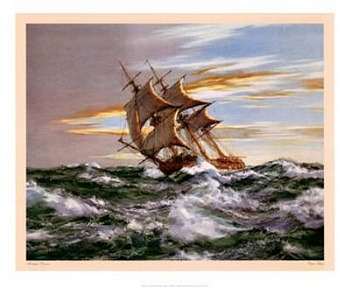 Dawn Chase by artist Montague Dawson. Poster prints, art prints, posters, marine art; from an original oil painting