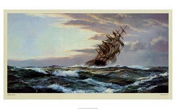 Glory of the Seas by artist Montague Dawson. Poster prints, art prints, posters, marine art; from an original oil painting