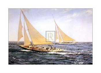 Greatest Race by artist Montague Dawson. Poster prints, art prints, posters, marine art; from an original oil painting