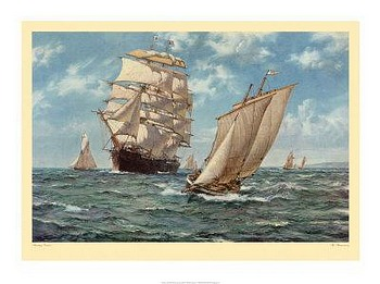 Homecoming by artist Montague Dawson. Poster prints, art prints, posters, marine art; from an original oil painting