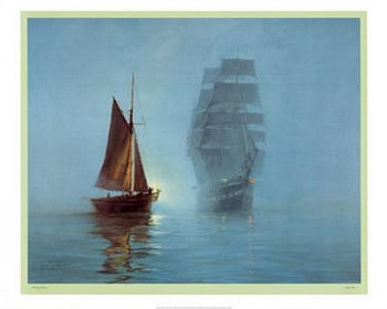 Night Mists by artist Montague Dawson. Poster prints, art prints, posters, marine art; from an original oil painting
