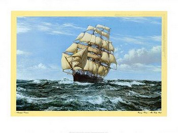 Racing Home The Cutty Sark by artist Montague Dawson. Poster prints, art prints, posters, marine art; from an original oil painting