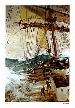 Rising Wind by artist Montague Dawson. Poster prints, art prints, posters, marine art; from an original oil painting