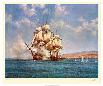 Smoke of Battle by artist Montague Dawson. Poster prints, art prints, posters, marine art; from an original oil painting
