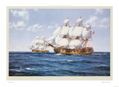 The Duke and Duchess by artist Montague Dawson. Poster prints, art prints, posters, marine art; from an original oil painting
