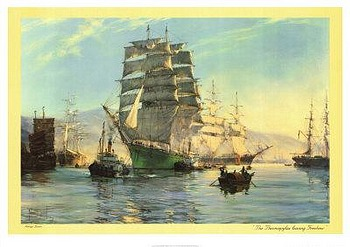 Thermopylae Leaving Foochow by artist Montague Dawson. Poster prints, art prints, posters, marine art; from an original oil painting