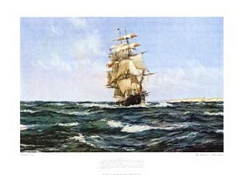 Up Channel the Lahloo by artist Montague Dawson. Poster prints, art prints, posters, marine art; from an original oil painting