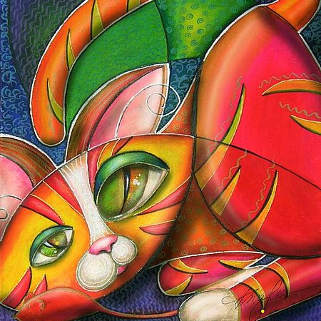 Giclee Prints, art prints of a woman with a cat, �Love me love my cat!� by Alma Lee