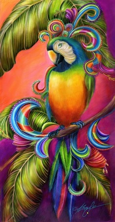 giclee prints, art prints of a blue and gold macaw parrot, �Paradise Paisley� by Alma Lee