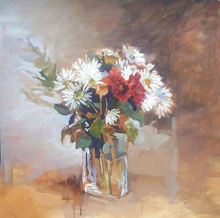 a floral, giclee prints, art prints, �Flowers in glass vase� by Anthony Barrow