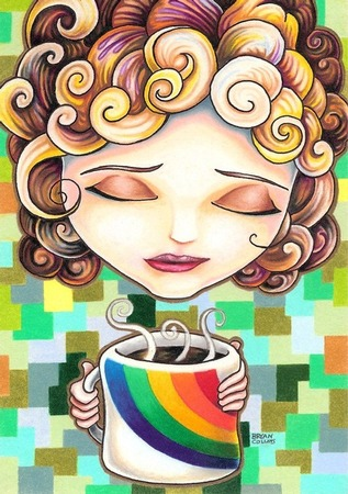 giclee prints, art prints, illustration, woman with coffee cup; �Abigail April� by Bryan Collins