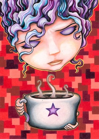 giclee prints, art prints, illustration, woman with cup of coffee; �Melody March� by Bryan Collins