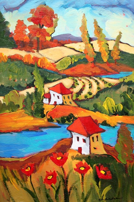 giclee prints, art prints, �autumn hues� by Elaine Lanoue, a landscape with houses and a river
