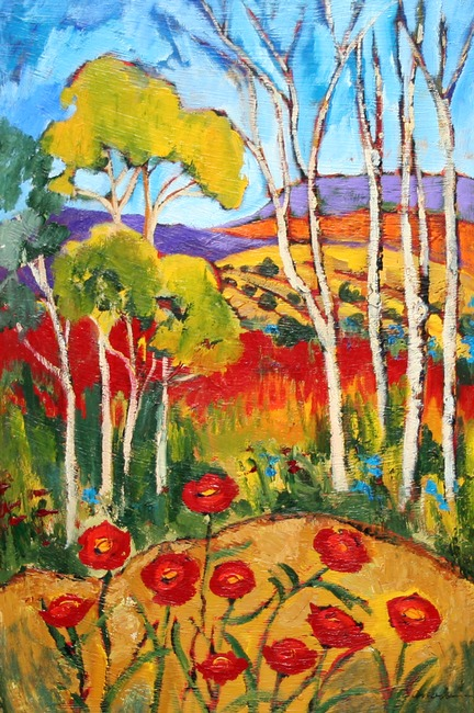 giclee prints, art prints, �Hillside Poppies� by Elaine Lanoue, a landscape with hills, trees and poppy flowers