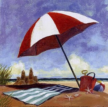 art prints, posters, beach scene with umbrella, blanket & sand castle; �Sand Castle� by Geoff Allen