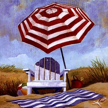 art prints, posters, beach scene with umbrella, blanket & chair; �Stripes� by Geoff Allen